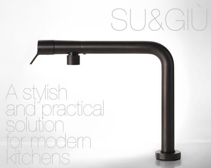 Gessi Kitchen SU&GIU 1-Gats Keukenkraan met periscoop uitloop Black Metal Brushed PVD